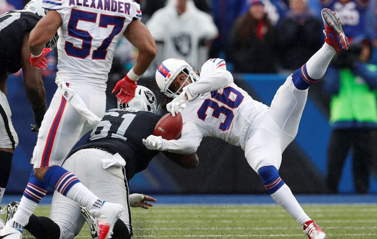 Bills safety Trae Elston absorbed this hard hit after making an interception in the fourth quarter Sunday. (Mark Mulville/Buffalo News)