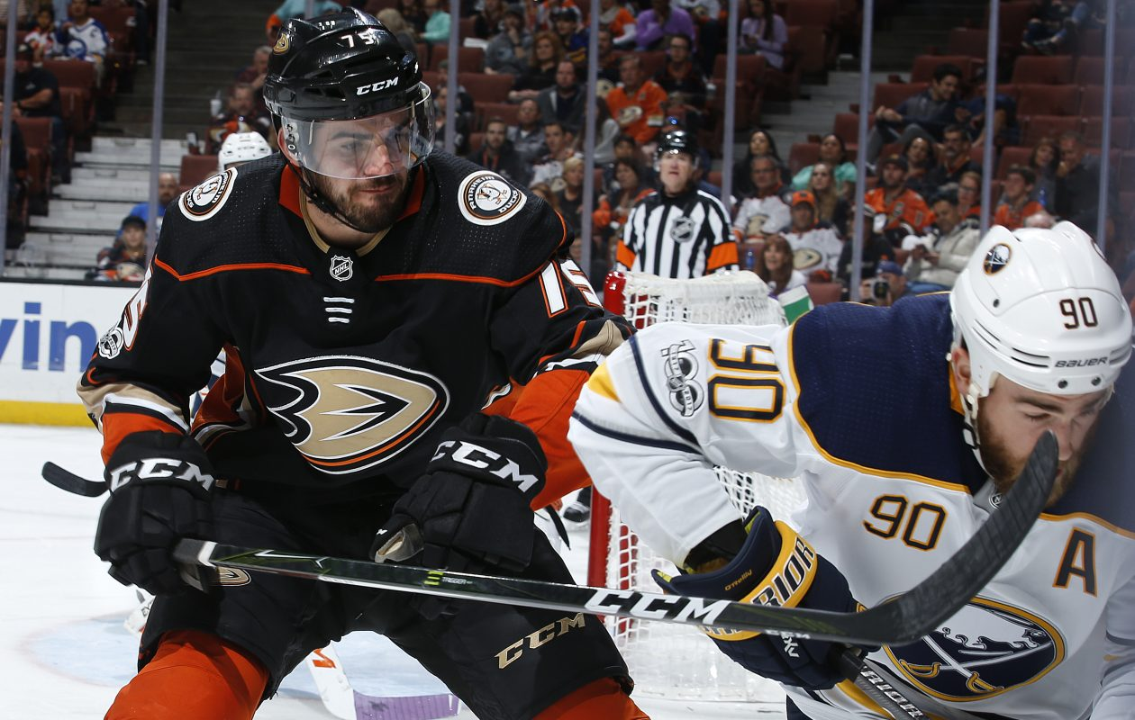 Ryan O'Reilly battles Anaheim's Jaycob Megna during second-period action (Getty Images).