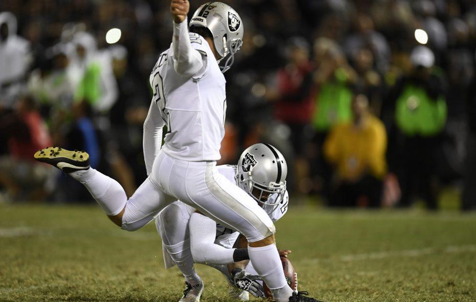 The Oakland Raiders' Giorgio Tavecchio (2) kicks the game-winning extra point against the Kansas City Chiefs Thursday night. (Jose Carlos Fajardo/Bay Area News Group/TNS)