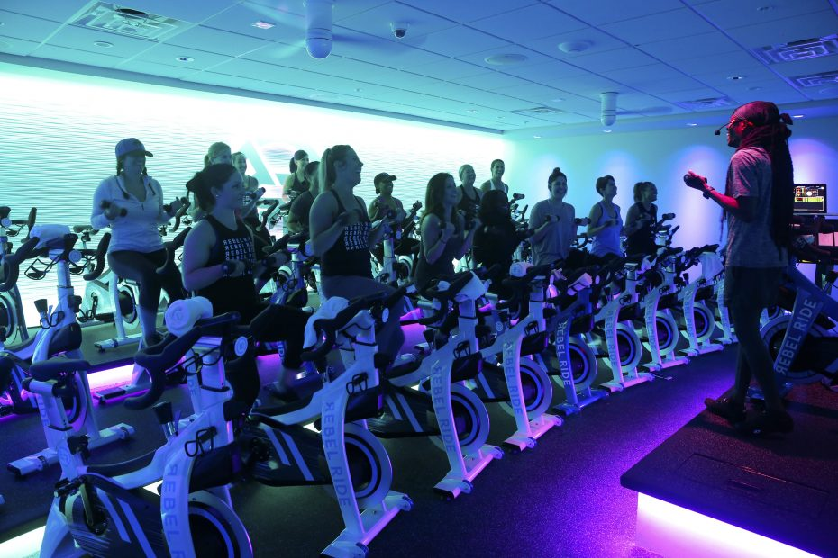 """""""We want to provide a really high-quality experience,"""" says former WIVB and WGRZ TV anchor Erika Brason of her new business, Rebel Ride Indoor Cycling & Strength, at 6449 Transit Road in Clarence. (Robert Kirkham/Buffalo News)"""