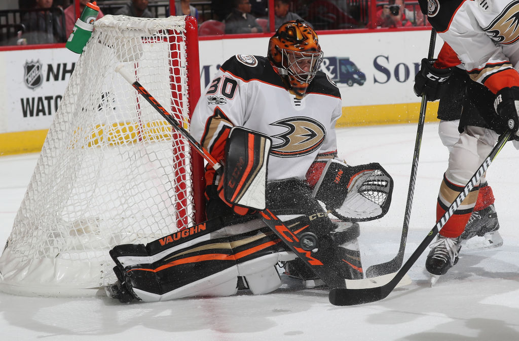 Ryan Miller made nine saves in overtime and all three in the shootout to get his first win for Anaheim in Sunday's victory at Carolina (Getty Images).
