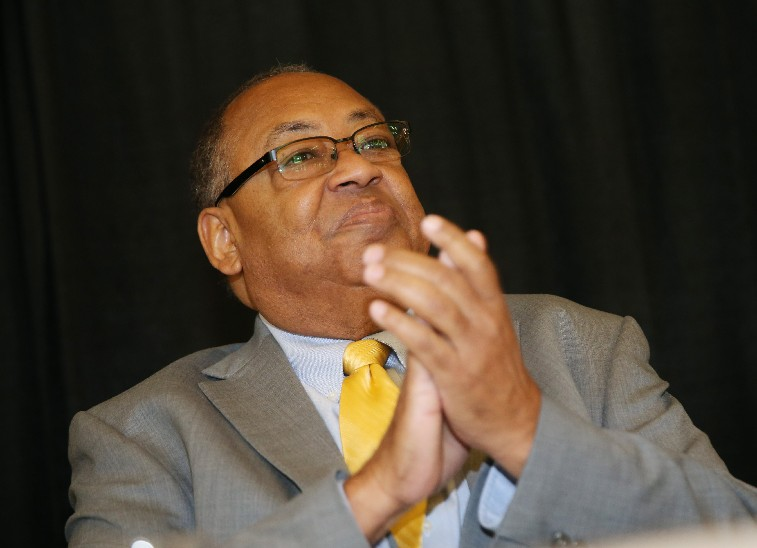 NAACP National Chairman Leon W. Russell applauds during the group's statewide conference in Niagara Falls Oct. 7, 2017. (Sharon Cantillon/The Buffalo News)