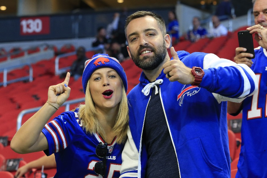 Buffalo Bills fans watch pregame prior to playing the Atlanta Falcons at Mercedes-Benz Stadium on Sunday, Oct. 1, 2017. (Harry Scull Jr./ Buffalo News)