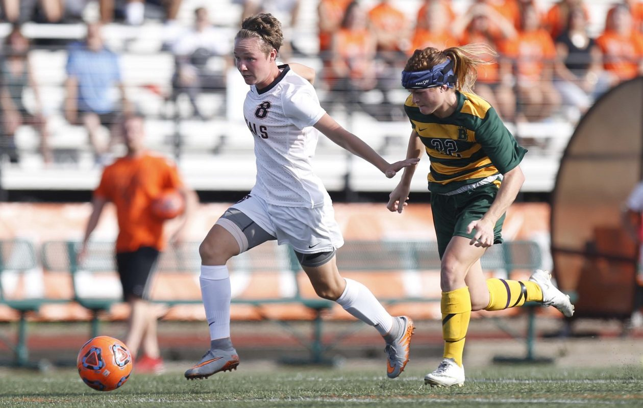 Buffalo State senior Breanna Knight, left, has not had the senior year she'd anticipated. (Dave DeLuca/Buffalo State Record)