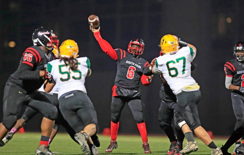 Deabeyon Humphrey passed for two touchdowns in the second half as South Park defeated West Seneca East to advance to the Section VI Class A final. (Harry Scull Jr./Buffalo News)