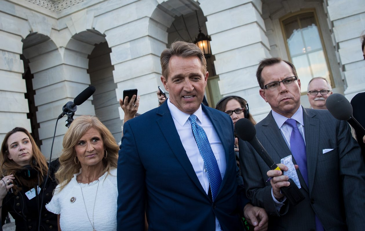 "Sen. Jeff Flake (R-AZ), who is not seeking re-election, said Monday ""What the president says or does or feels has nothing whatsoever to do with how I will vote on that tax bill.""  (Getty Images)"