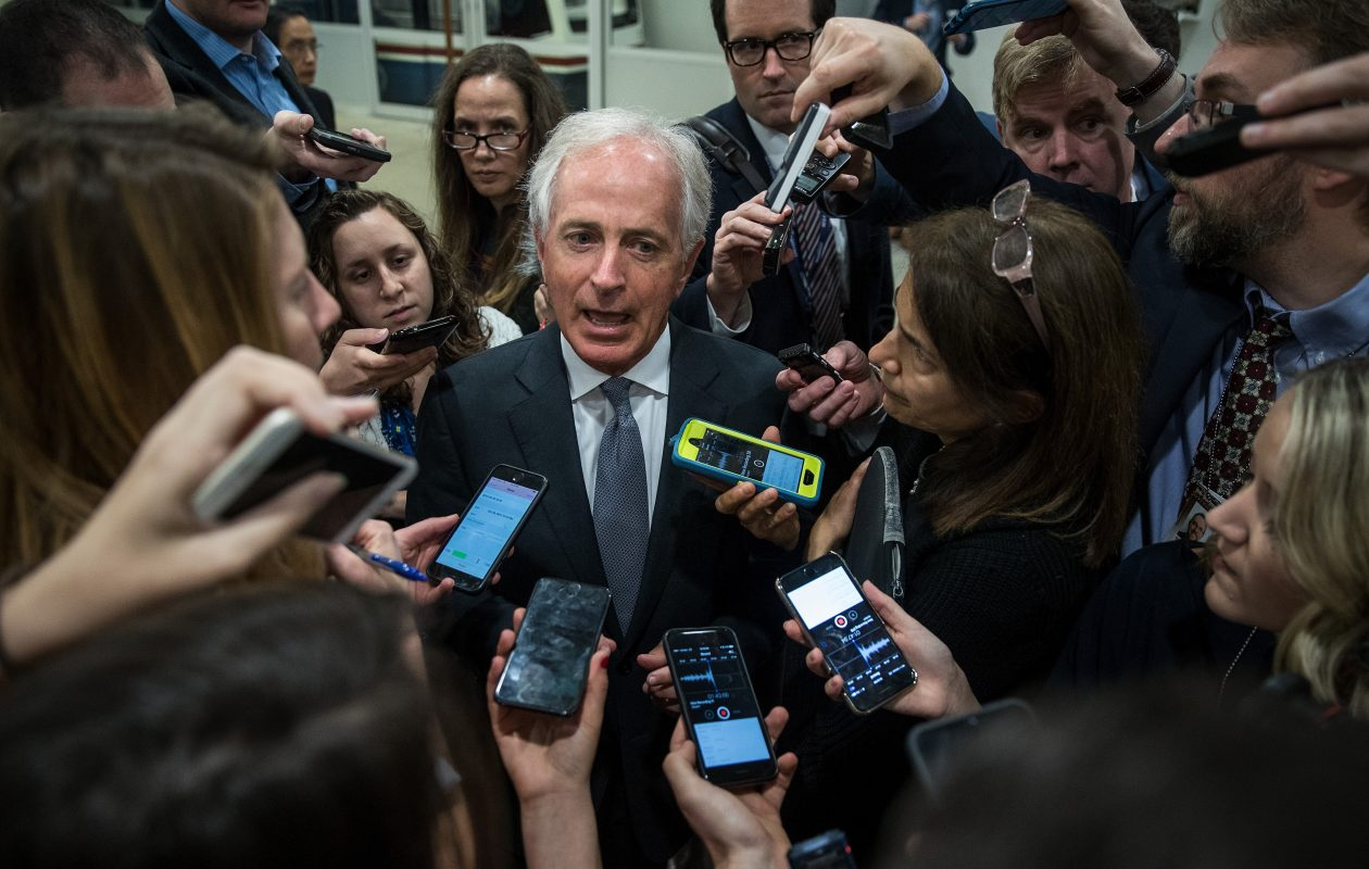 Republican Sen. Bob Corker, R-Tenn., leads a small group of colleagues in demanding that the bill's $1.5 trillion tax cut not drive up the nation's debt. (Getty Images)