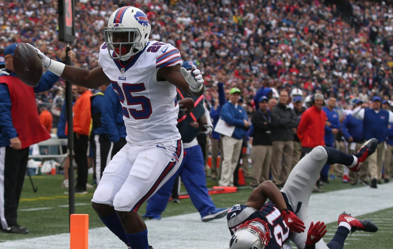 Buffalo Bills running back LeSean McCoy rushed for a touchdown  beating New England Patriots cornerback Malcolm Butler in the first quarter at Gillette Stadium in Foxborough, Mass., on Sunday, Oct. 2, 2016.  (James P. McCoy/ Buffalo News)