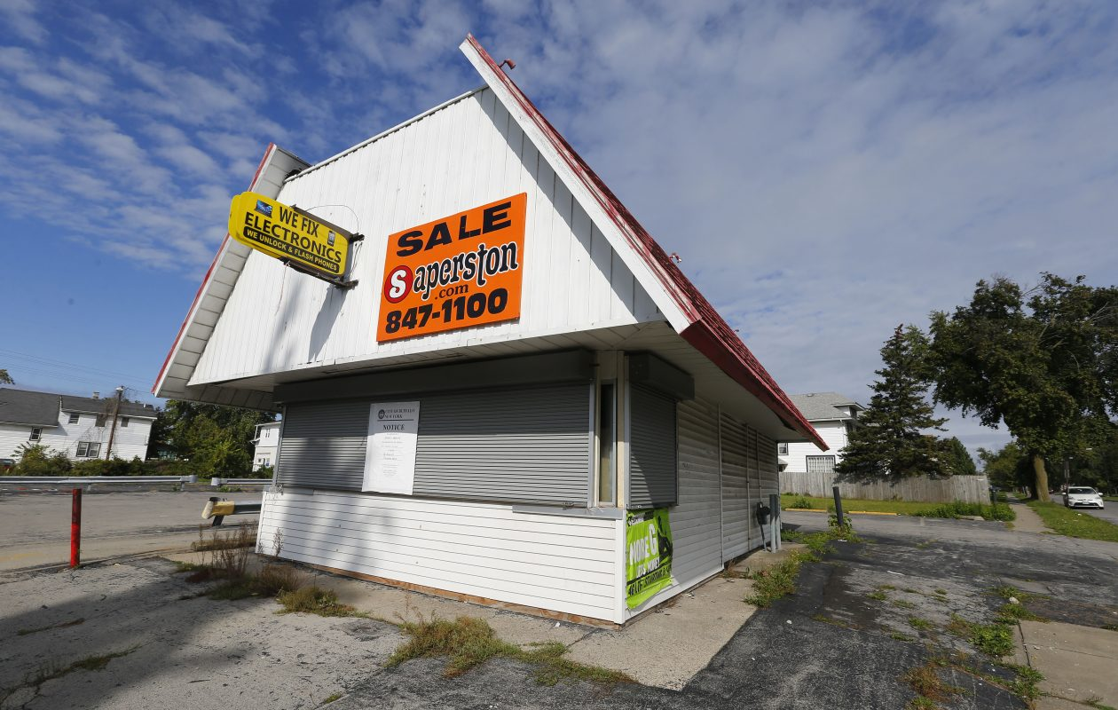 Masaab Darwish is seeking a use variance from the Buffalo Zoning Board of Appeals to allow him to open a poultry slaughterhouse behind this building at 822 Walden Ave., where a Dairy Queen was once located.  (Mark Mulville/Buffalo News)