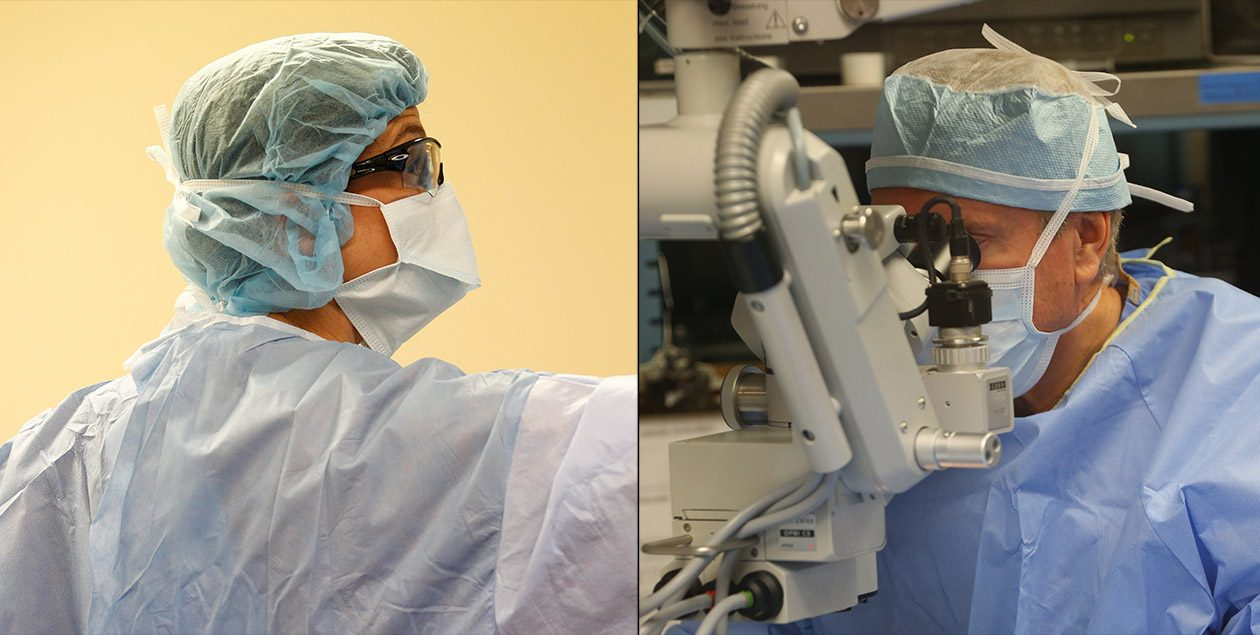 A debate in the medical community has centered on whether surgical teams should wear bouffants, shown left, or skullcaps. (Buffalo News file photos)