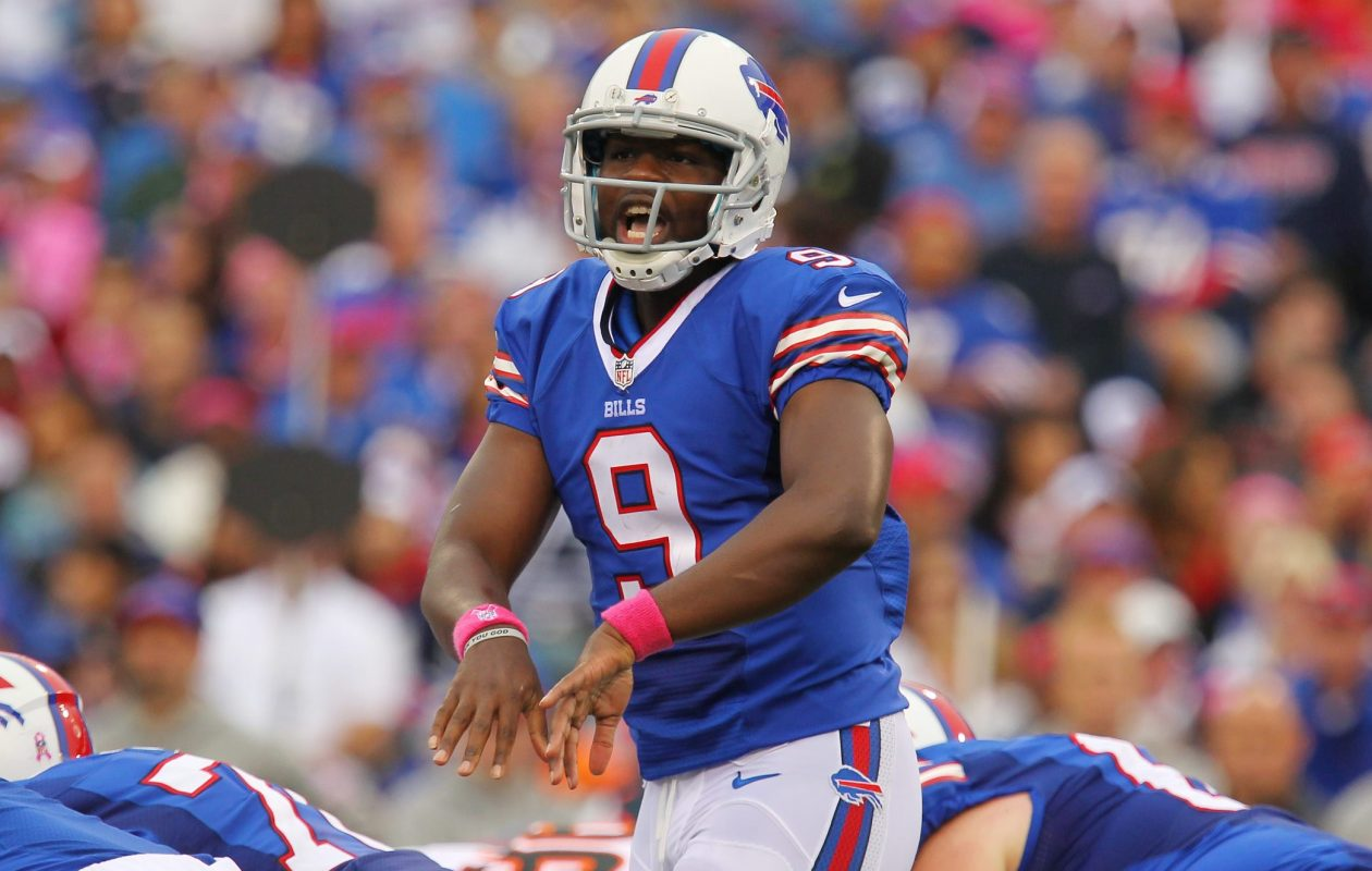 Bills backup quarterback Thad Lewis calls to his teammates at the line of scrimmage on Oct. 13, 2013, at Ralph Wilson Stadium in Orchard Park.  (Mark Mulville/News file photo)