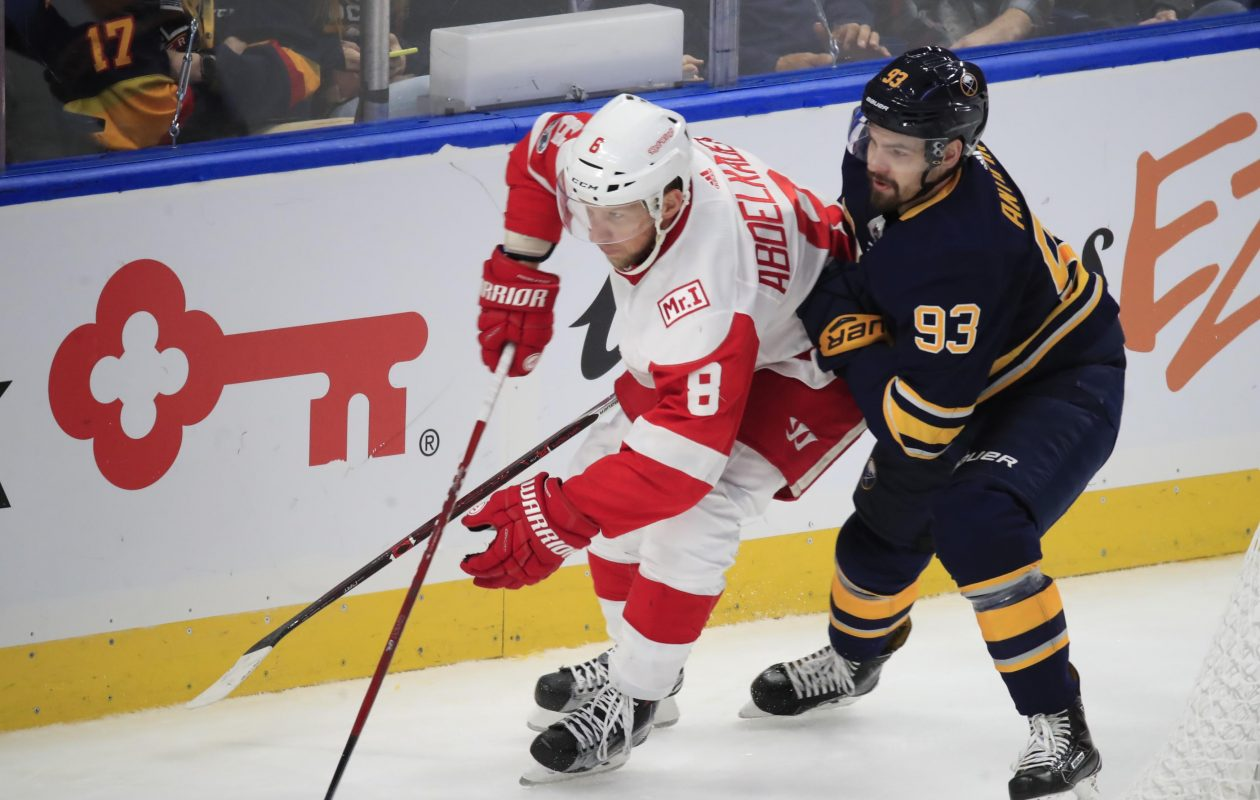 Victor Antipin works against Detroit's Justin Abdelkader (Harry Scull Jr./Buffalo News).