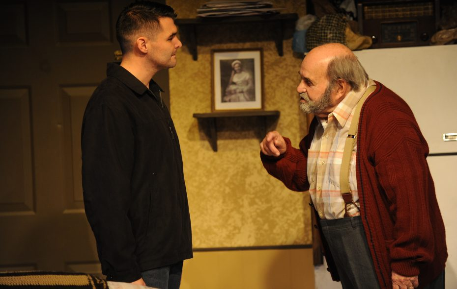 "Nick Stevens, left, and Saul Elkin are featured in Jewish Repertory Theatre's production of ""Visiting Mr. Green."""