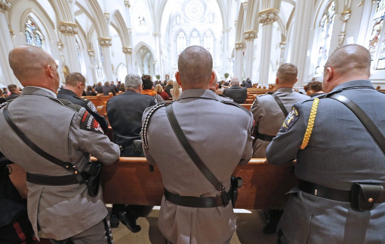 Firefighters, law enforcement and ambulance corps members will gather for a 'Blue Mass' on Wednesday at Our Lady of Pompeii Church in Lancaster. Pictured above is a 'Blue Mass' held in October 2015 at St. Joseph Cathedral in Buffalo. (Robert Kirkham/News file photo)