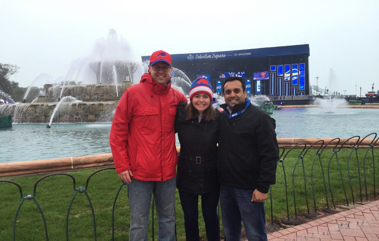 Bills Backers of Chicago members, from left, Lars Weborg, Cassie Hutton, and Sujit Janardhan at the NFL Draft in Chicago in 2014. (Courtesy of Lars Weborg).
