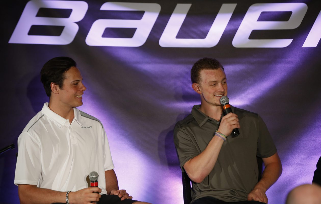 Auston Matthews, left, and Jack Eichel (at a Bauer Hockey event in Buffalo in 2016) are among the candidates for the Hart Trophy. (Harry Scull Jr./Buffalo News)