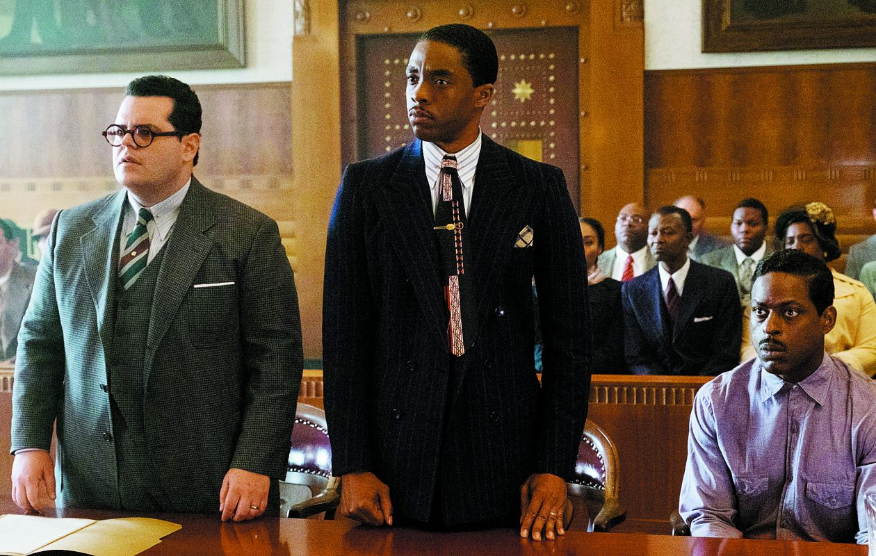 (L-r) Josh Gad, Boseman and Sterling K. Brown in 'Marshall.' (Barry Wetcher, Open Road Films)