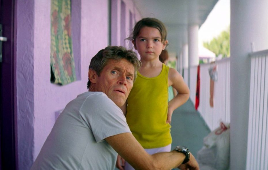 """Willem Dafoe plays a kind-hearted hotel manager and Brooklynn Prince is one of the children he keeps an eye on in """"The Florida Project."""""""