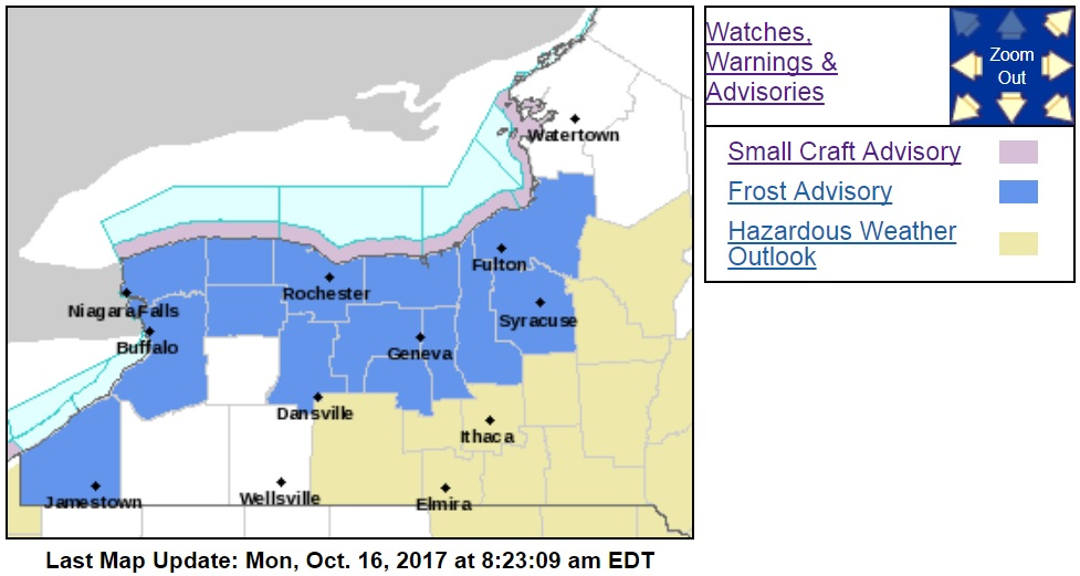 Frost advisory in Buffalo, WNY tonight