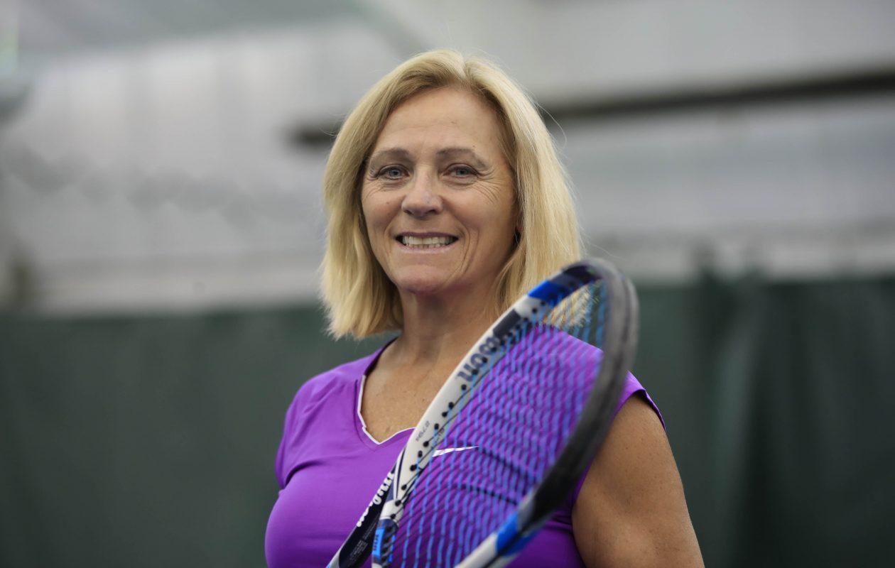 Maureen Rasp-Glose, pictured at the Village Glen Tennis Club on Thursday, Sept. 28, 2017. (Harry Scull Jr./Buffalo News)
