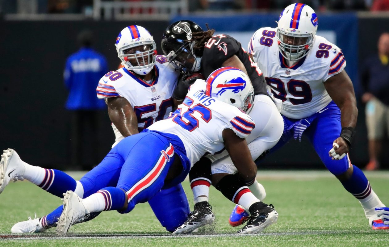 Linebacker Ramon Humber (50) has been a tackling machine the first four weeks for the Bills, but could miss time with a hand injury. (Harry Scull Jr./Buffalo News)