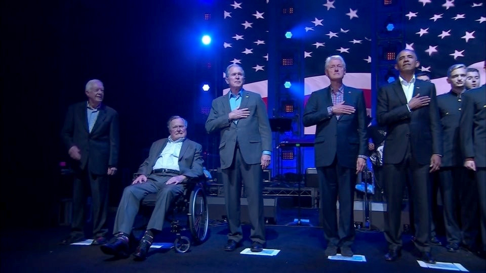 The five living predecessors of President Donald Trump appeared in Texas on Saturday to raise funds to aid victims of recent hurricanes. (One America Appeal Campaign for Hurricane Recovery)