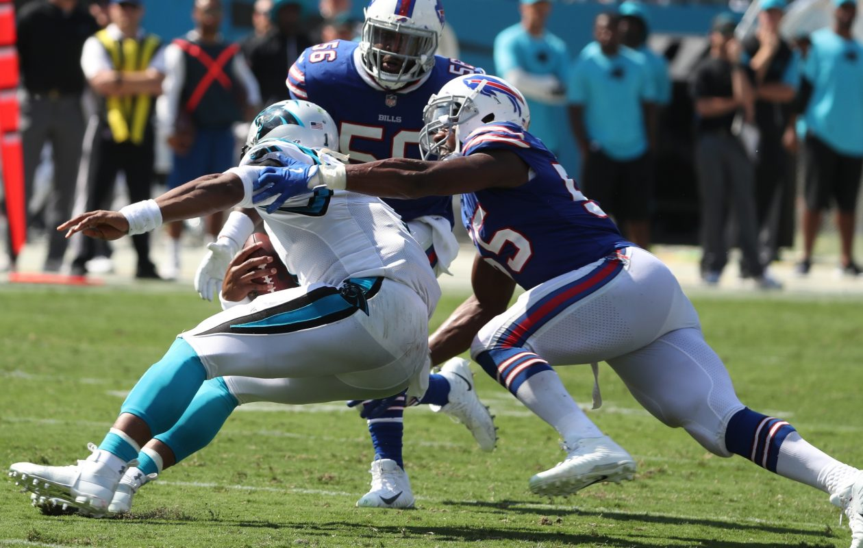 Buffalo Bills defensive end Jerry Hughes (55) sacks Carolina Panthers quarterback Cam Newton in the third quarter on Sept. 17, 2017, at Bank of America Stadium in Charlotte.  (James P. McCoy / Buffalo News)
