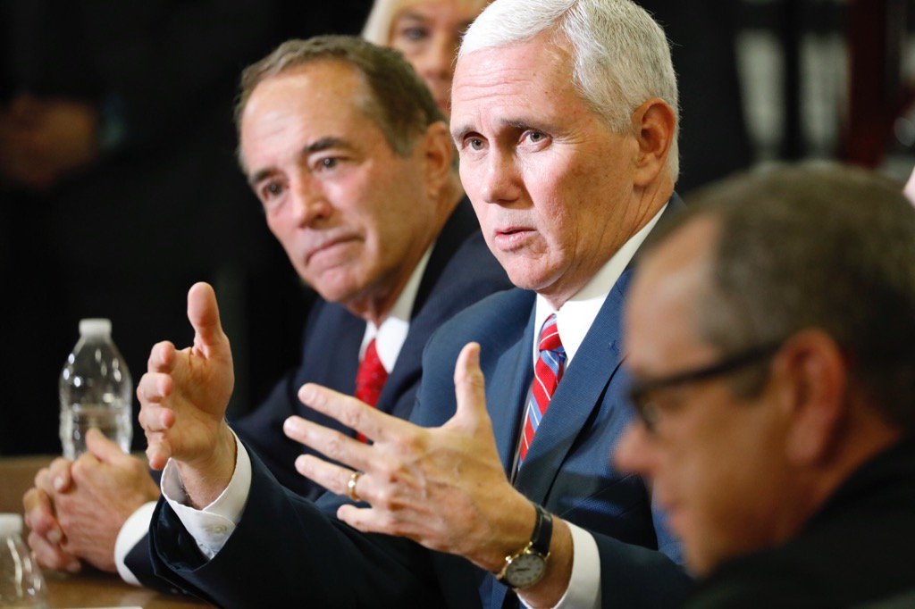 Vice President Pence and U.S. Rep. Chris Collins holding economic roundtable event with small business owners in Lancaster. (Derek Gee / The Buffalo News)