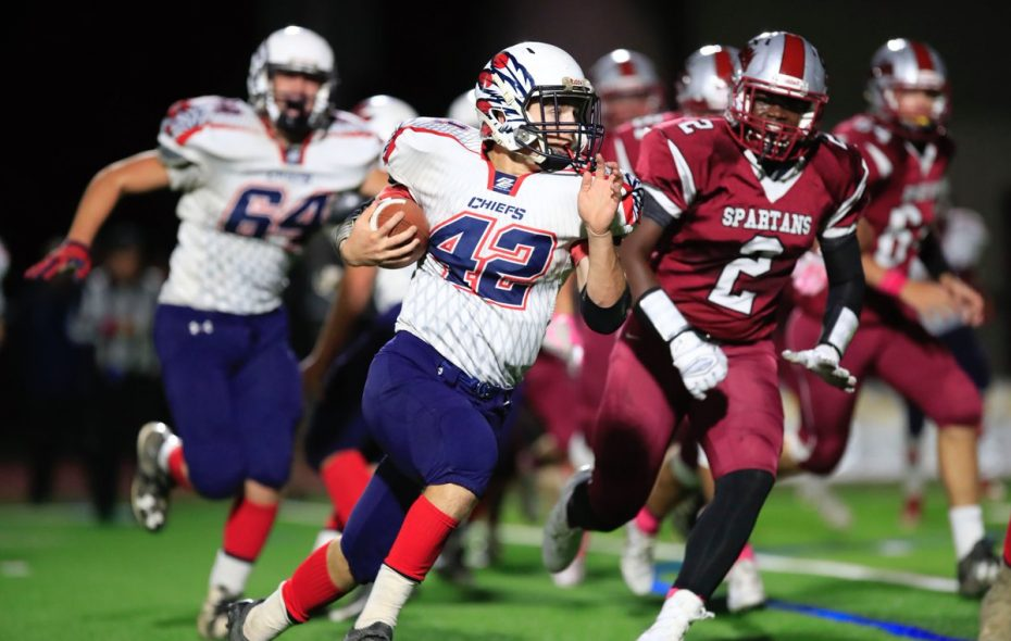C.J. Perillo rushed for three touchdowns, 215 yards on 48 carries in leading Iroquois past Starpoint on Friday night. (Harry Scull Jr./Buffalo News)