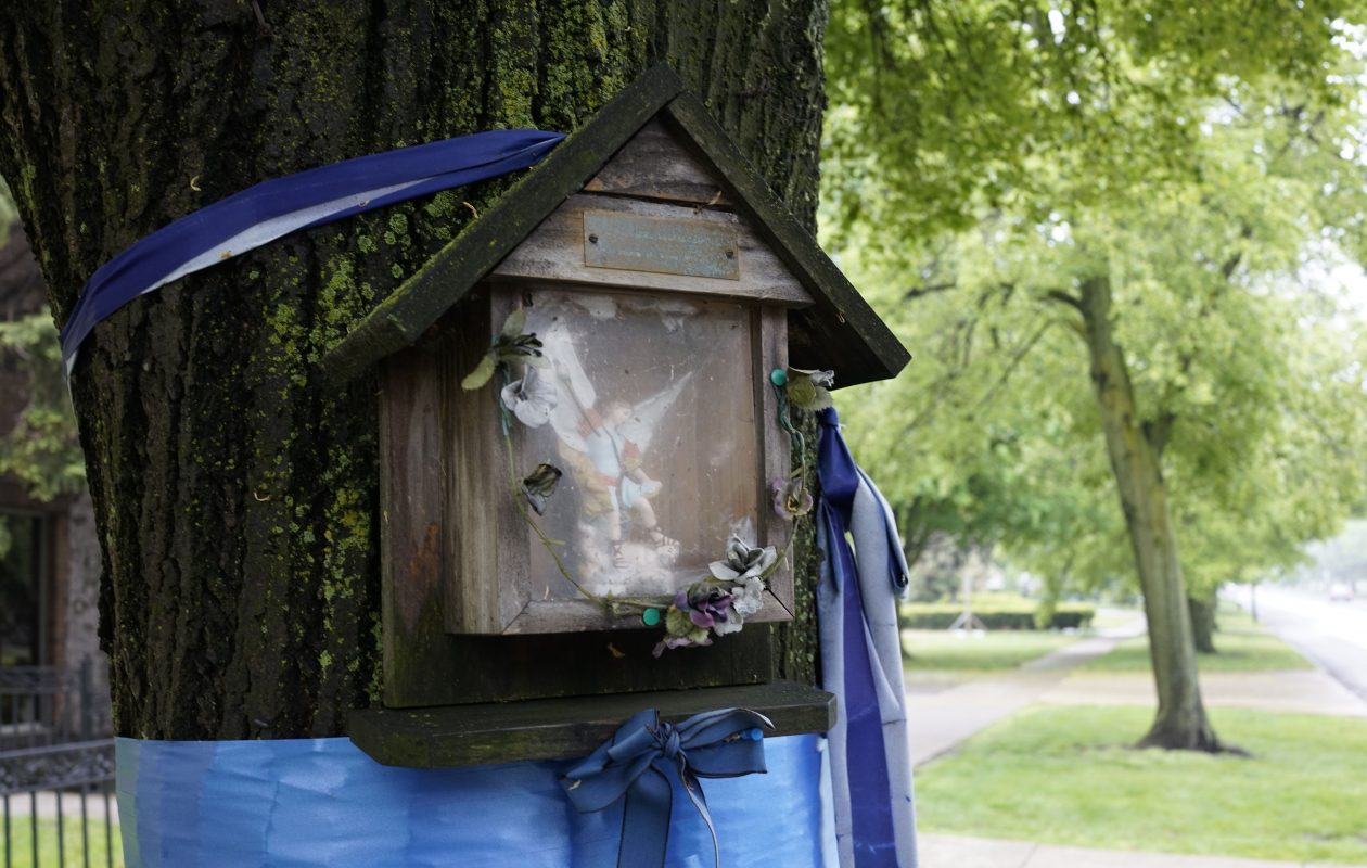A memorial for late Buffalo Police Officer James A. Shields, who was killed in a car accident in the line of duty Oct. 30, 2002 on a tree on Delaware Avenue near Bryant, Friday, May 26, 2017.  (Derek Gee/Buffalo News)