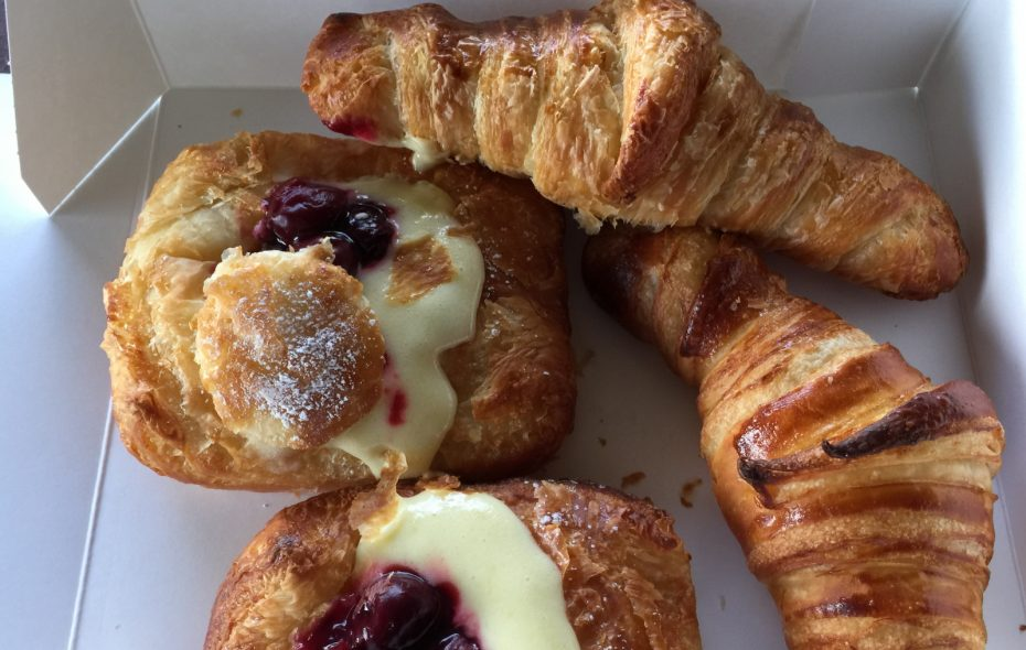 Cherry lemon danish and croissants at Rowhouse Bakery & Restaurant  (Andrew Galarneau/Buffalo News)