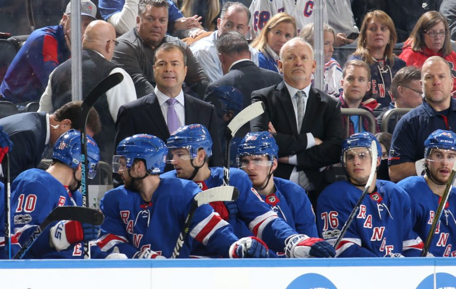 Rangers coach Alain Vigneault, left,  could be in danger of getting replaced by assistant Lindy Ruff (Getty Images).