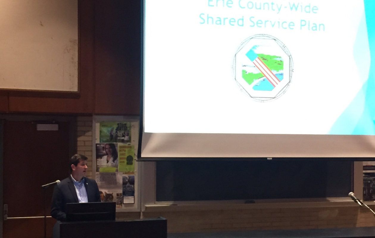 County Executive Mark Poloncarz discusses the final Shared Services Plan at ECC North Campus on Monday.