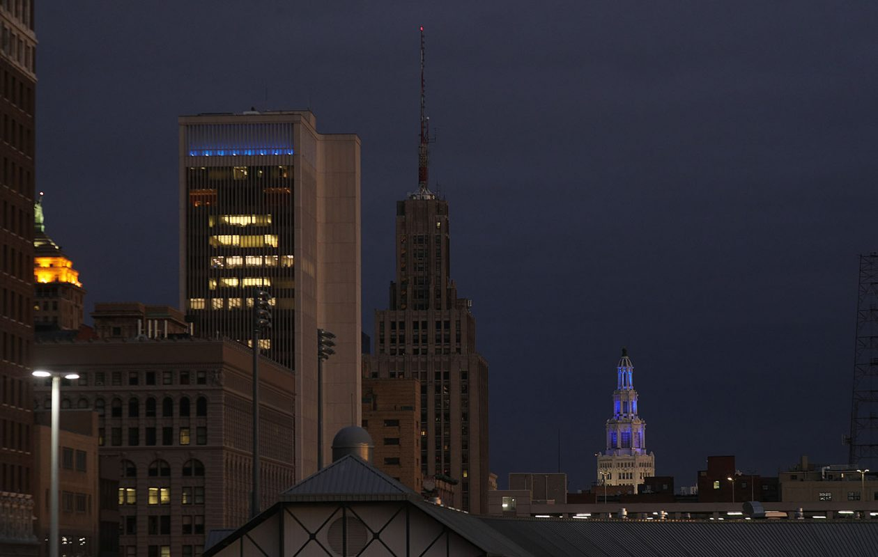 The top of the Electric Tower is illuminated in blue in honor of fallen Buffalo Police Officer Craig Lehner.