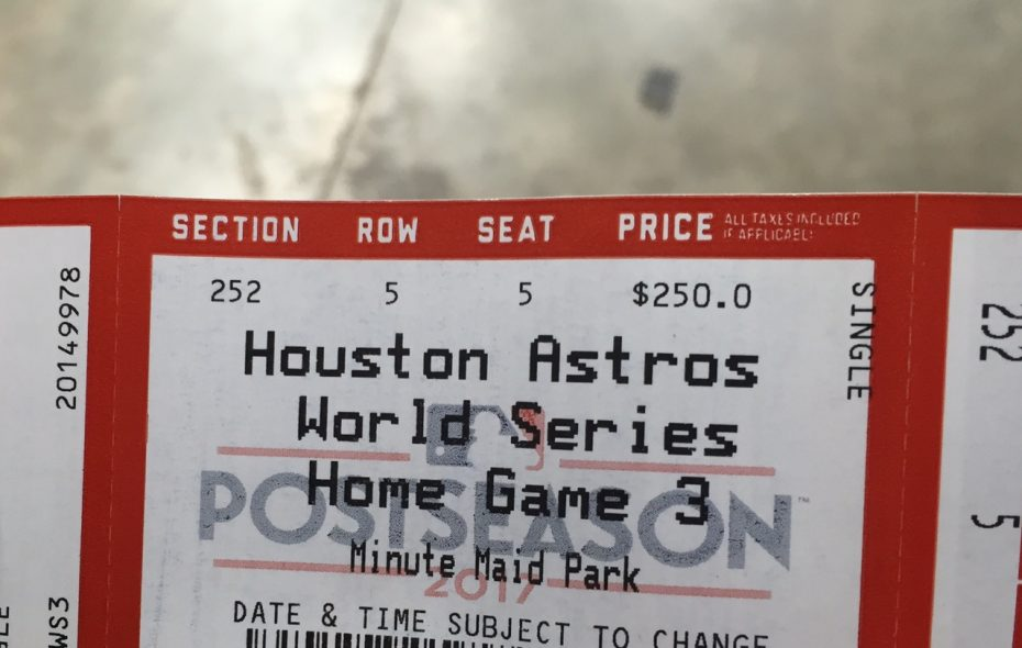 Brian Duff's ticket to Game 5 of the World Series (Mike Harrington/Buffalo News).