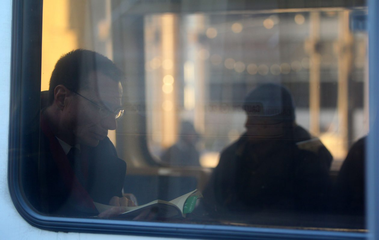 Commuters take an NFTA train in Buffalo. (Mark Mulville/News file photo)