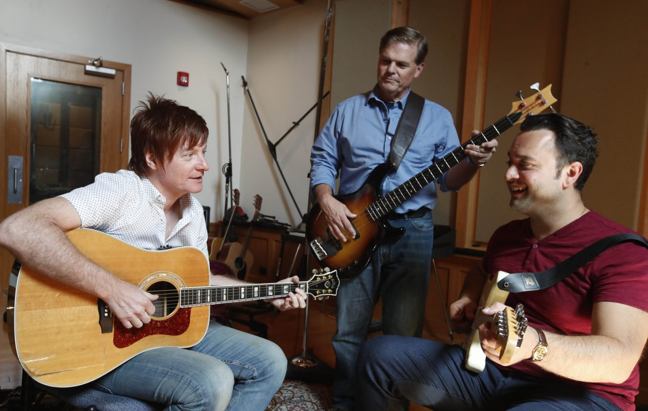 Ron Hawkins, left, worked with Buffalo musicians Tom Lillis and Joey Nicastro on the charity single at GCR Audio in the summer. (Sharon Cantillon/Buffalo News)
