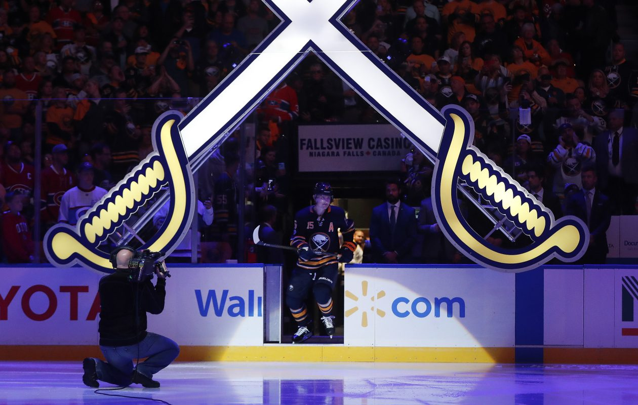 Jack Eichel is introduced before the Buffalo Sabres' season opener at KeyBank Center on October 5, 2017. (Mark Mulville/Buffalo News)
