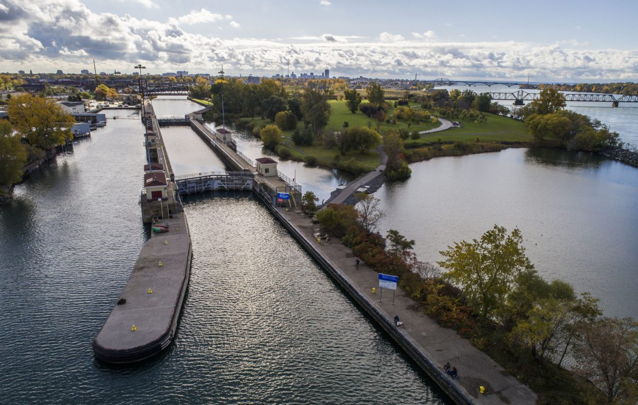 The Black Rock Lock at the mouth of the Black Rock Channel separates Unity Island from the mainland, Thursday, Oct. 26, 2017.  (Derek Gee/Buffalo News)