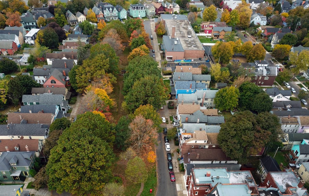 The elongated, oval-shaped Days Park has adorned a block of Allentown with green space since the mid-19th century. (John Hickey/Buffalo News)