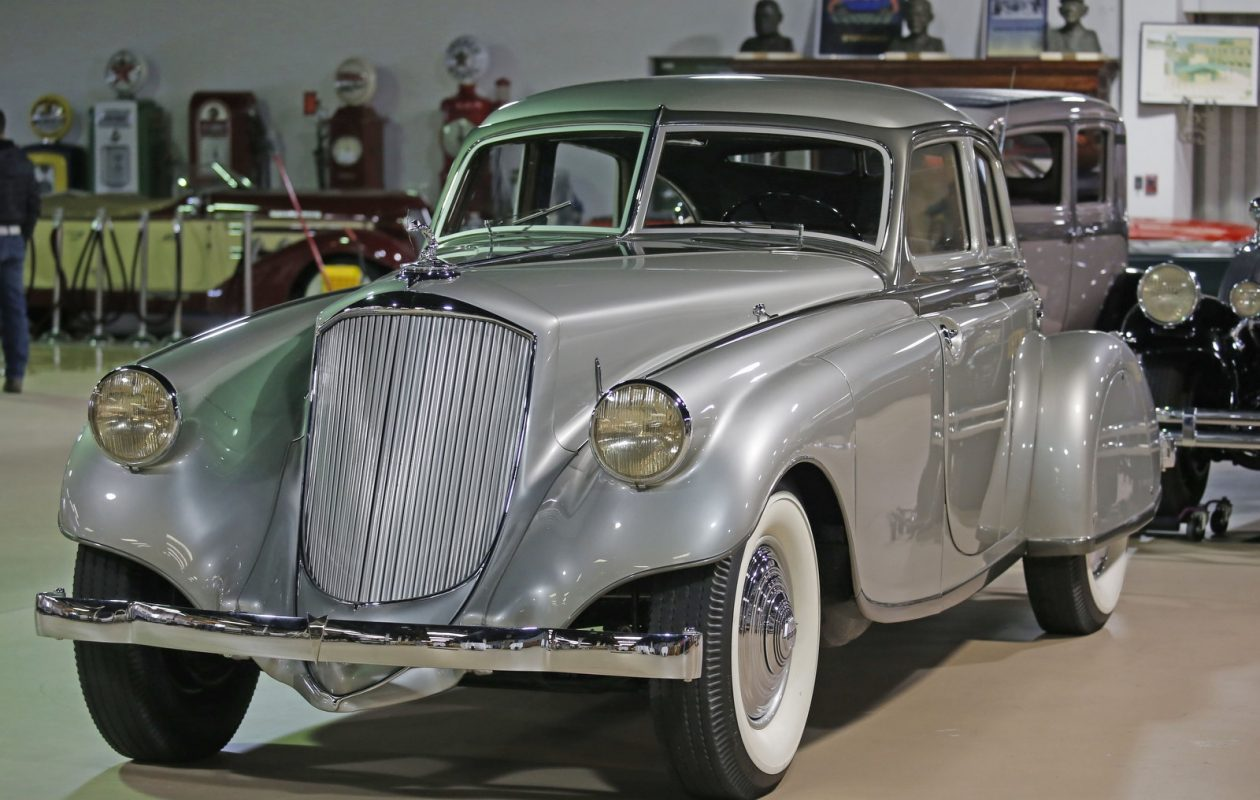 This 1933 Silver Arrow automobile, manufactured in Buffalo,  was recently sold at auction for more than $2 million and its owner has loaned it to the Buffalo Transportation Pierce Arrow Museum in downtown Buffalo. (Robert Kirkham/Buffalo News)