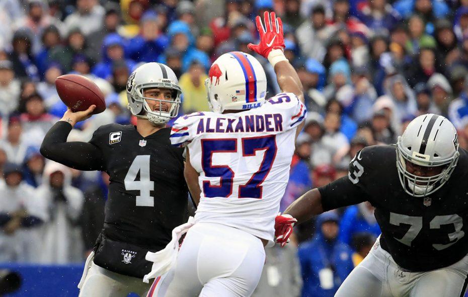 Buffalo Bills Lorenzo Alexander disrupts Oakland Raiders quarterback Derek Carr during the second quarter at New Era Field in Orchard Park on Sunday, Oct. 29, 2017.  (Harry Scull Jr./ Buffalo News)