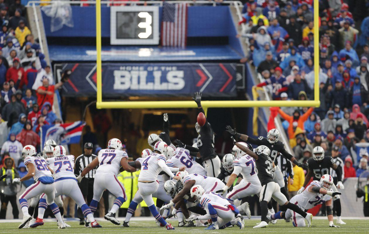 Buffalo Bills kicker Stephen Hauschka kicks a field goal against the Oakland Raiders. (Mark Mulville/Buffalo News)