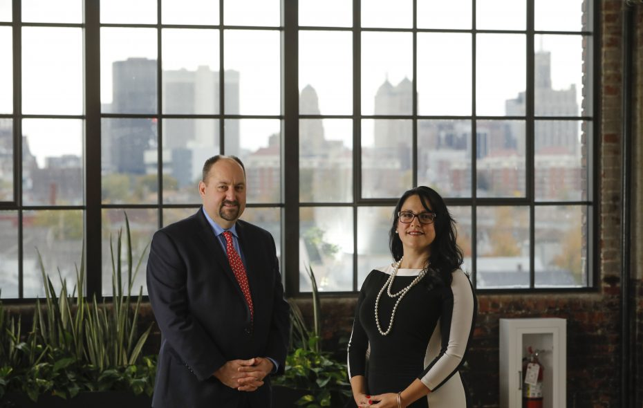 Therese Fuerst, senior partner and chief marketing officer, and Bob Richardson, managing partner, of a new real estate private-equity firm called Blue Cardinal Capital.  (Derek Gee/Buffalo News)