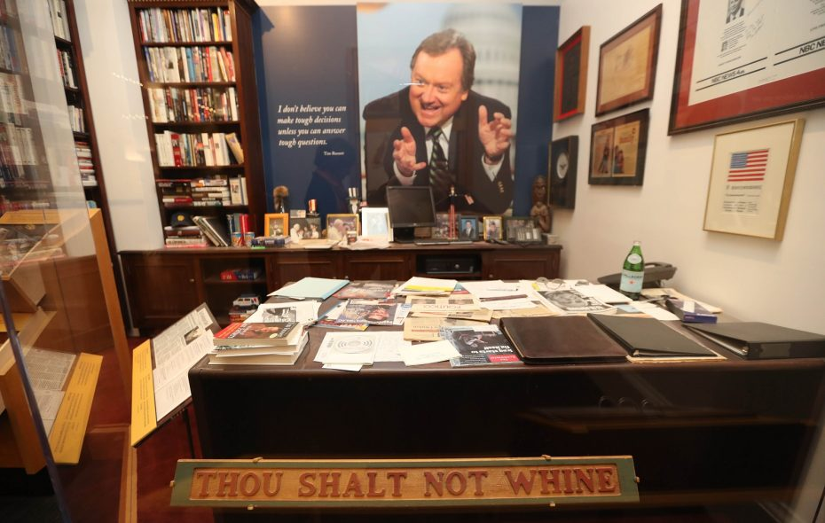 """The museum exhibit """"Inside Tim Russert's Office"""" at the Buffalo History Museum. (Sharon Cantillon/Buffalo News)"""