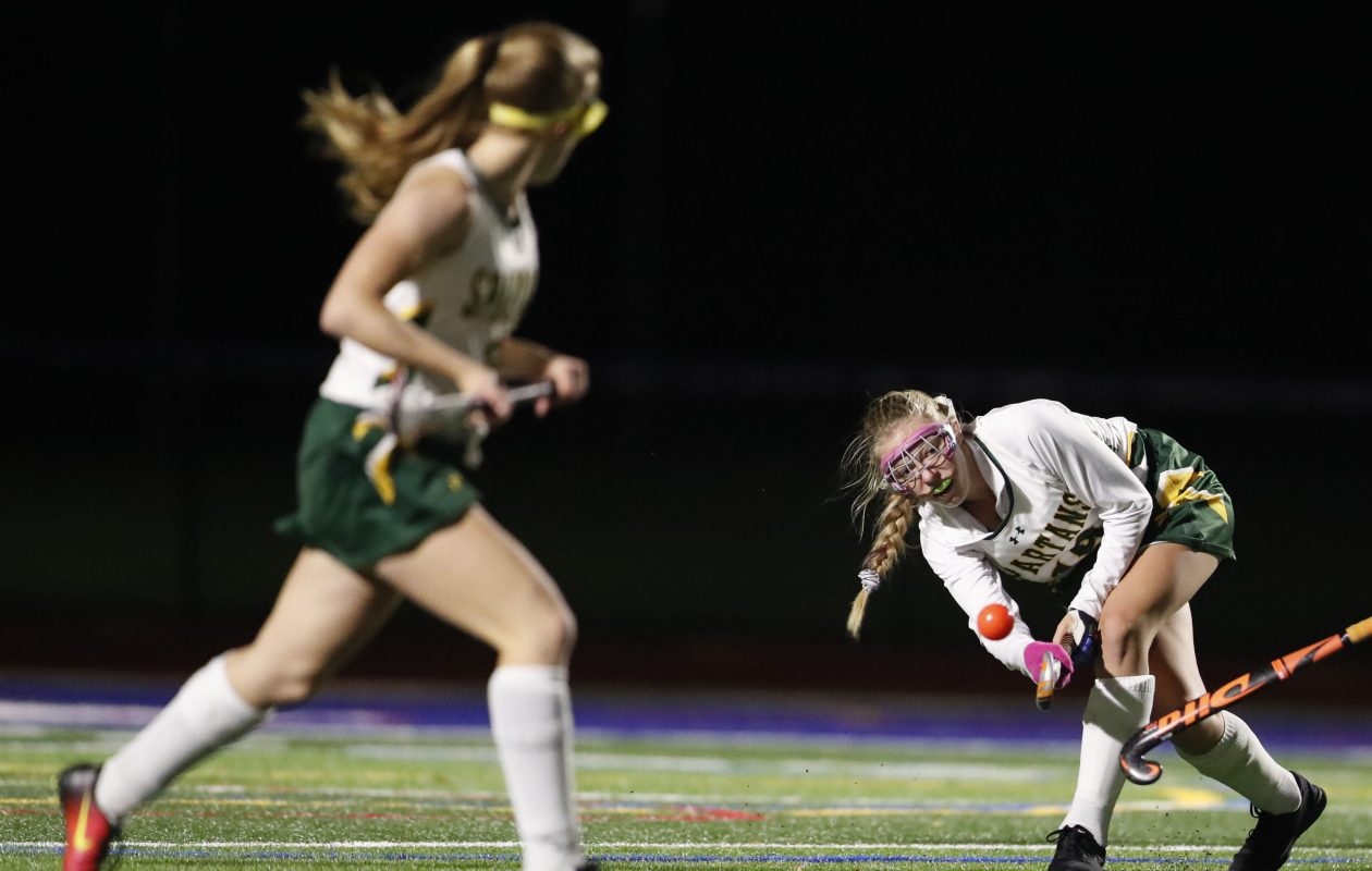 Emily Reynolds makes a pass to a teammate during Williamsville North's 1-0 win over Clarence in the Section VI Class A final at Williamsville South. (Mark Mulville/Buffalo News)
