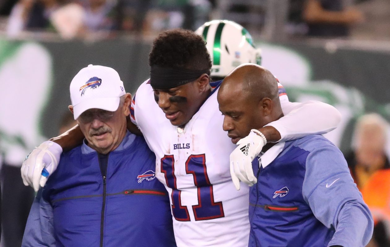 Buffalo Bills wide receiver Zay Jones (11) is helped off after being injured in the first quarter against the Jets at MetLife Stadium in New Rutherford, N.J., on Thursday, Nov. 2, 2017. (James P. McCoy/Buffalo News)