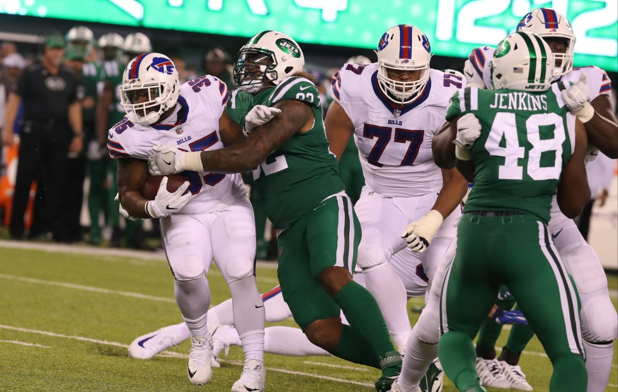 Bills running back Mike Tolbert found little room to operate Thursday against the Jets. (James P. McCoy/Buffalo News)