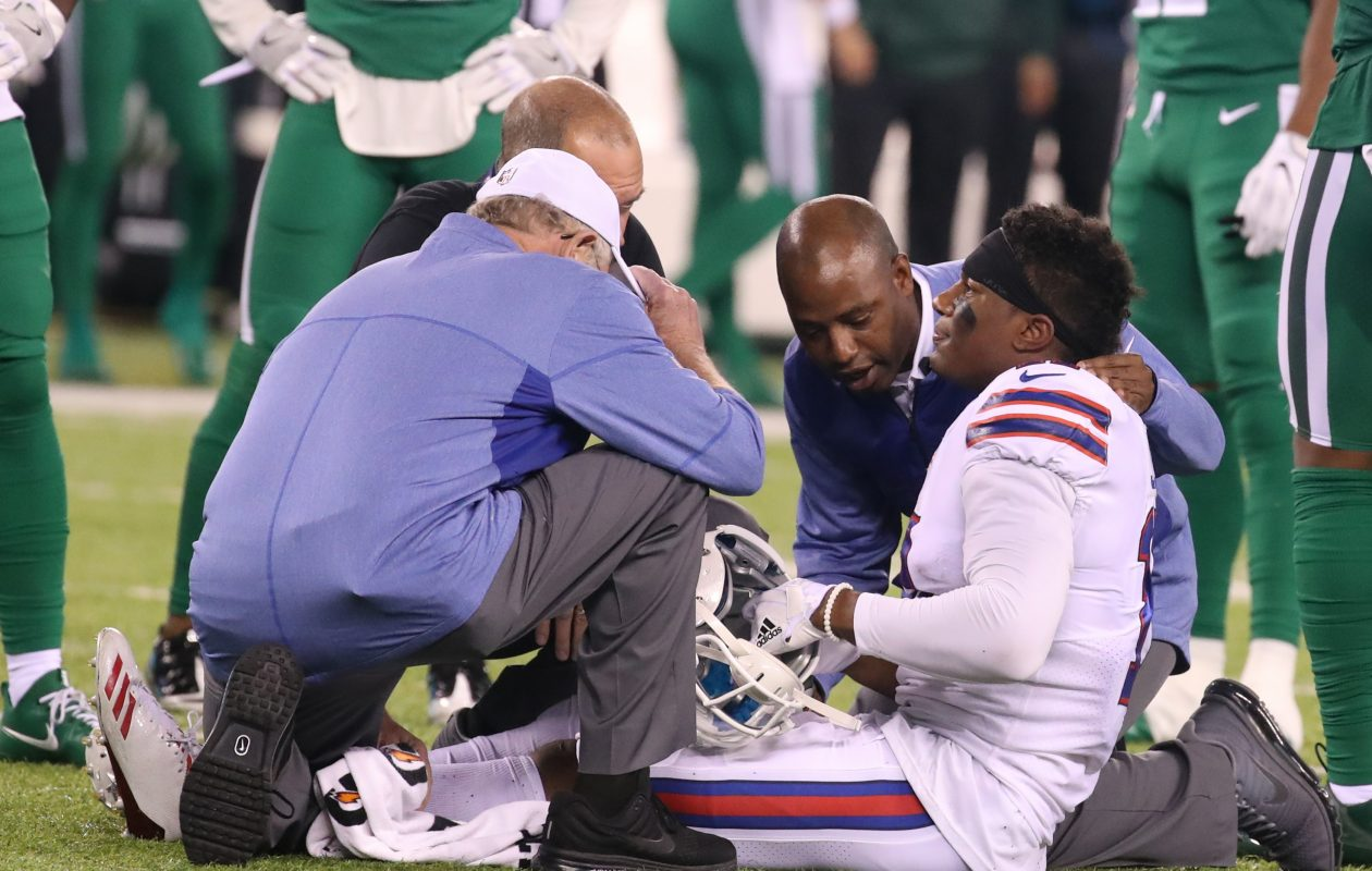 Buffalo Bills wide receiver Zay Jones (11) was injured against the New York Jets. (James P. McCoy/Buffalo News)