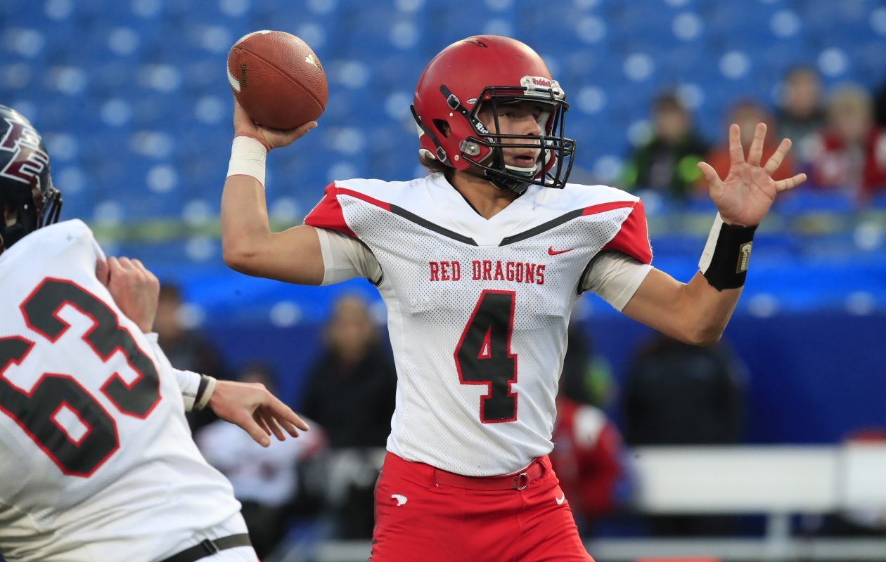 Maple Grove quarterback Easton Tanner threw two second-half touchdown passes to lead the Red Dragons' comeback against Franklinville/Ellicottville in the Section VI final.  (Harry Scull Jr./ Buffalo News)